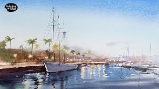 Рисуем акварелью: Пейзаж с яхтой — kalachevaschool.ru