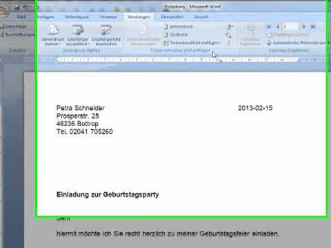 Serienbriefe Mit Word 20072010 Erstellen Youtube
