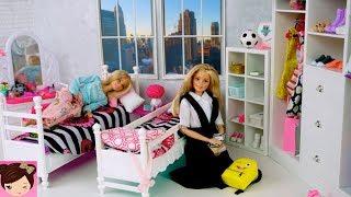 Barbie Sisters Bedroom School Morning Routine -  Breakfast at DONUT Shop!