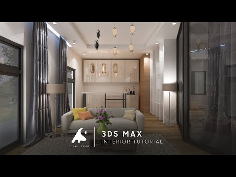 Autocad to 3Ds Max | Tutorial Modeling Kitchen Living modeling vray render + Photoshop