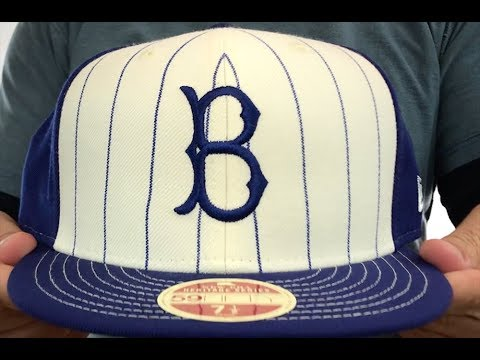 4973e9045 Brooklyn Dodgers VINTAGE-STRIPE White-Royal Fitted Hat by New Era ...