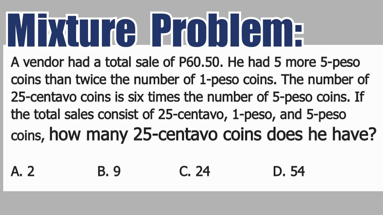 Mixture Problem: how many 23-centavo coins does he have?