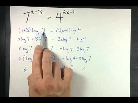 Solving Exponential Equations Exact Answer For 7x342x 1 Youtube