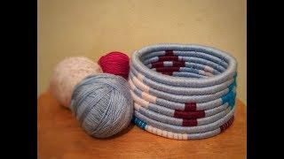Плетение корзины, утилизация остатков пряжи!