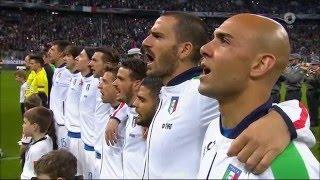 Inno nazionale italiano prima della partita di calcio Germania-Italia il 29.03.2016
