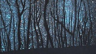Cómo pintar un bosque con cielo estrellado - Muy fácilmente