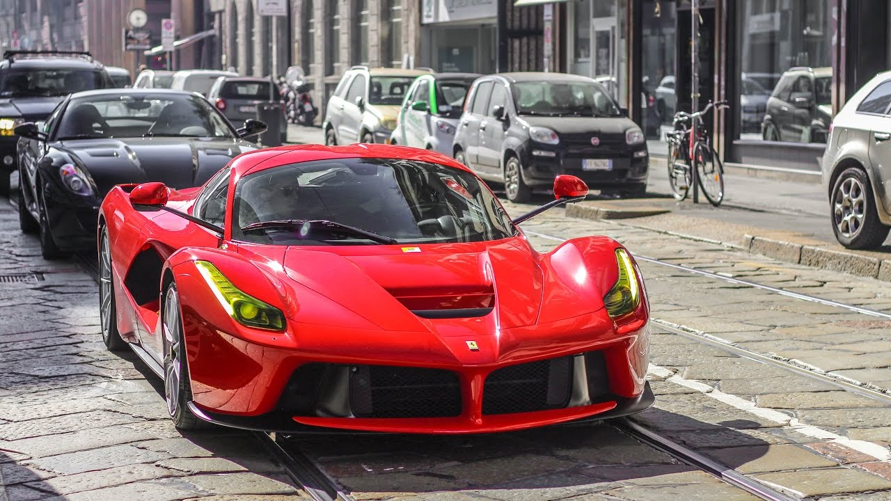 Unique Ferrari Laferrari With Yellow Lights In Milan Youtube
