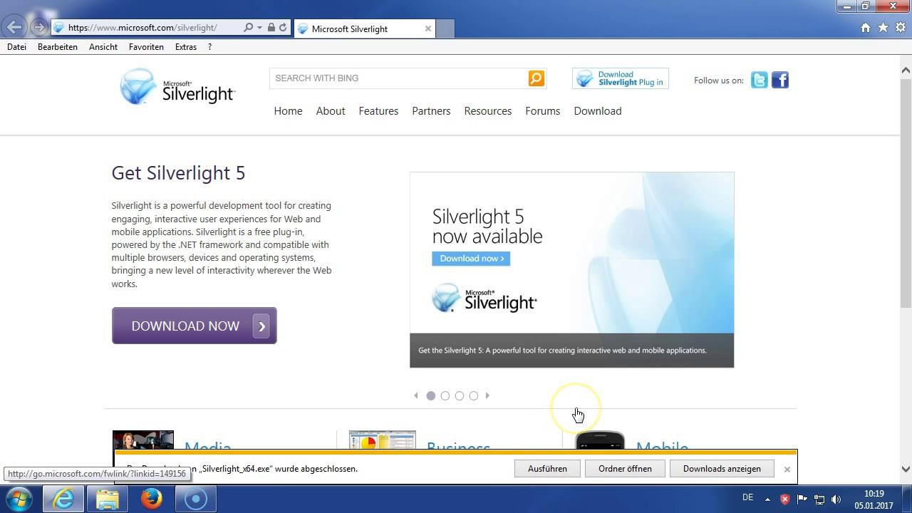 Installations Anleitung von Microsoft Silverlight