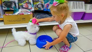Funny Stacy doing shopping with cute Dog Toy