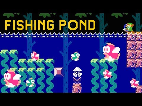 The Legend of Zelda's Fishing Pond Mini-Game recreated in Super Mario Maker 2