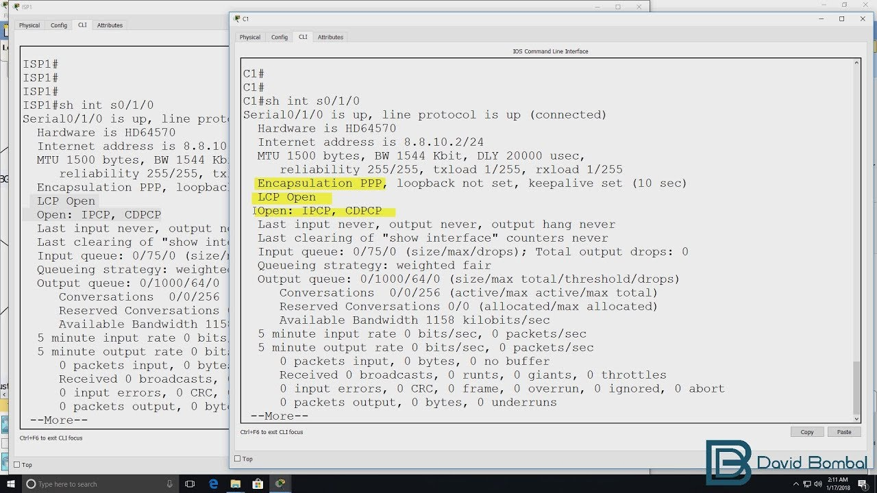 Cisco CCNA Packet Tracer Ultimate labs: PPP & PPP CHAP: Answers Part 1