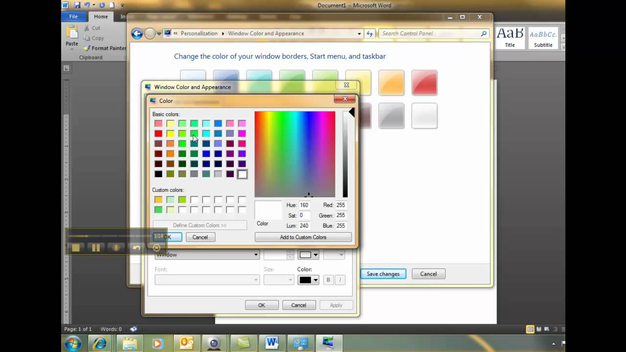 Change Background Color Windows 7.mp4 - YouTube