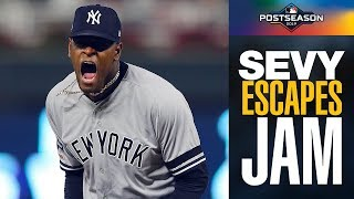 Luis Severino gets Yankees out of HUGE bases-loaded no-out jam to preserve lead vs Twins