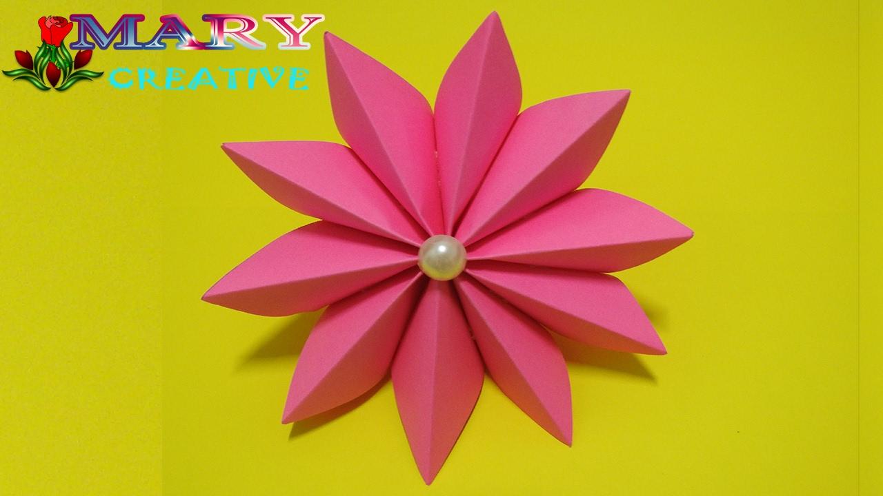 Mary creative origami 17 how to make easy ribbon flower youtube mary creative origami 17 how to make easy ribbon flower mightylinksfo