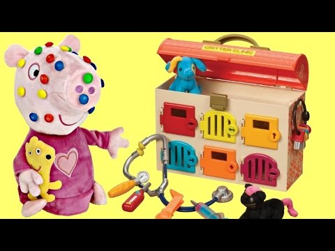 Thumbnail: PEPPA PIG Got Sick George, M&M'S Candy Doc McStuffins Hospital Critter Clinic Pet Hospital Toys TUYC