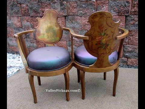 Antique Victorian Tete a Tete Parlor Chair - Antique Victorian Tete A Tete Parlor Chair - YouTube