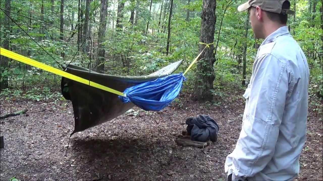 diy improvised hammock made out of tarps  eric tbp   youtube  rh   youtube