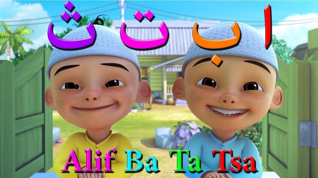 Download Alif Ba Ta Tsa Upin Ipin & Tayo, Belajar dan menyanyi huruf hijaiyah, huruf arab dan teks indonesia
