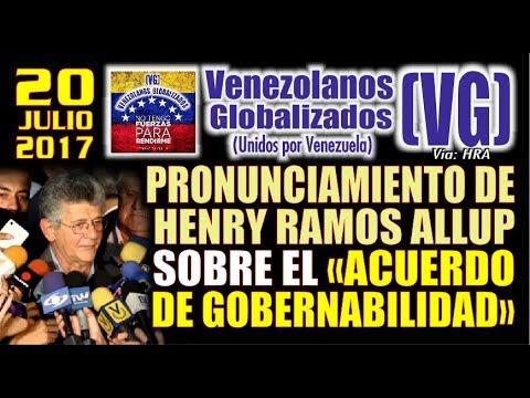 """Pronunciamiento de Henry Ramos Allup sobre el """"Acuerdo de Gobernabilidad""""  - (VG)"""