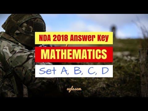 NDA 2018 Mathematics Answer Key