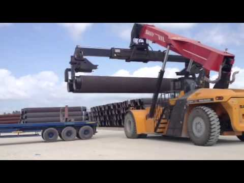 Reach Stacker for Pipe at Bredero Shaw Indonesia