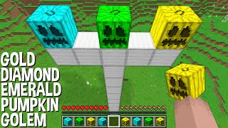 WHAT if SPAWN GOLEM with DIAMOND PUMPKIN and EMERALD PUMPKIN and GOLD PUMPKIN in Minecraft ???