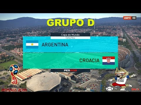 ARGENTINA VS CROATIA | PES 2018 | GRUPO D # 2  FIFA World Cup | OPTION FILE broadcast camera