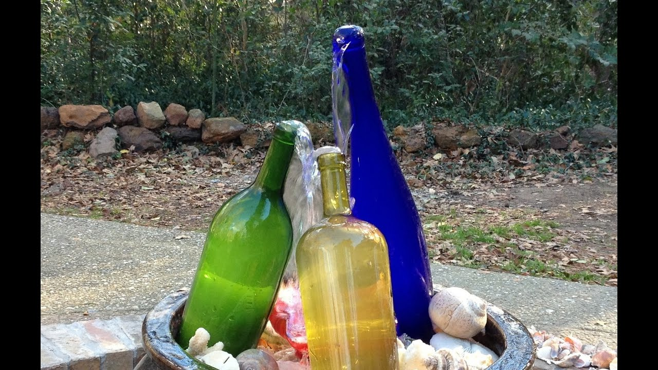 Wine bottle waterfall fountain building making youtube for Making a water garden