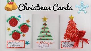 Christmas Greeting Cards/3 Christmas Cards for Kids/Handmade Christmas Card Making Ideas