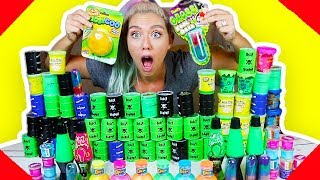 MIXING 100 STORE BOUGHT JIGGLY SLIMES INTO A GIANT SLIME SMOOTHIE! ( SO SATISFYING)