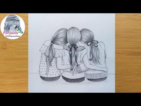 Best Friends Pencil Sketch Tutorial