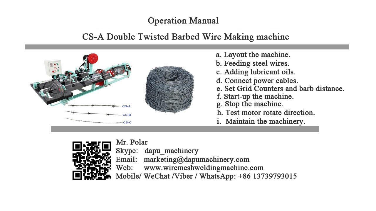 How to install and operate CS-A double twisted barbed wire making ...