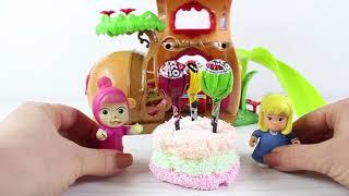 Maşa Heidi Ve Clara Köpük Oyun Hamurundan Renkli Pasta Yapıyor