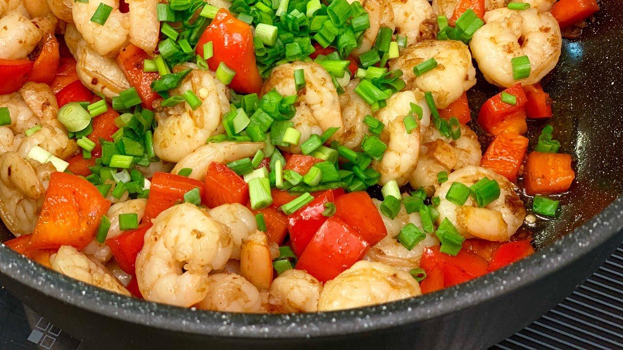 Креветки в соусе из красного перца. Red chili shrimp