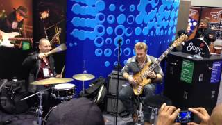 Hadrien Feraud with a Mayones Jabba 5 Custom Bass performing at the Elixir Strings Namm 2013 Booth