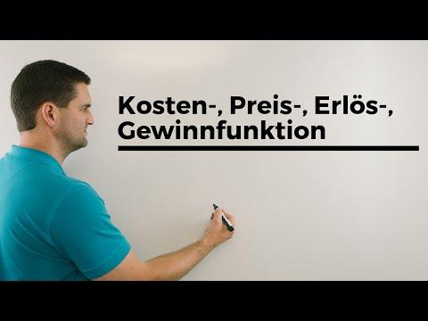 Kosten- , Preis-, Erlös- , Gewinnfunktion, Übersicht, Ökonomie, Finanzmathe | Mathe by Daniel Jung