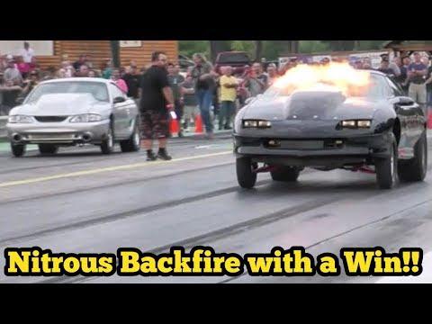 Nitrous Camaro vs Turbo Mustang at Ozark Flashlight No Prep Race