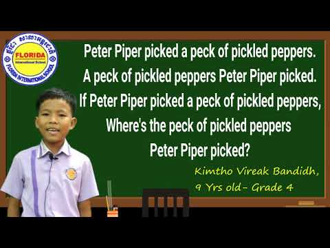 PETER PIPER PICKED A PECK OF PICKLED PEPPER
