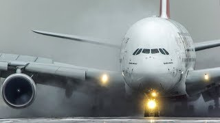 AIRBUS A380 LANDING on a WET RUNWAY + AIRBUS A330 slow motion DEPARTURE (4K)