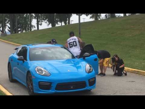 Pittsburgh Steelers LB Ryan Shazier drives to training camp in a Porsche