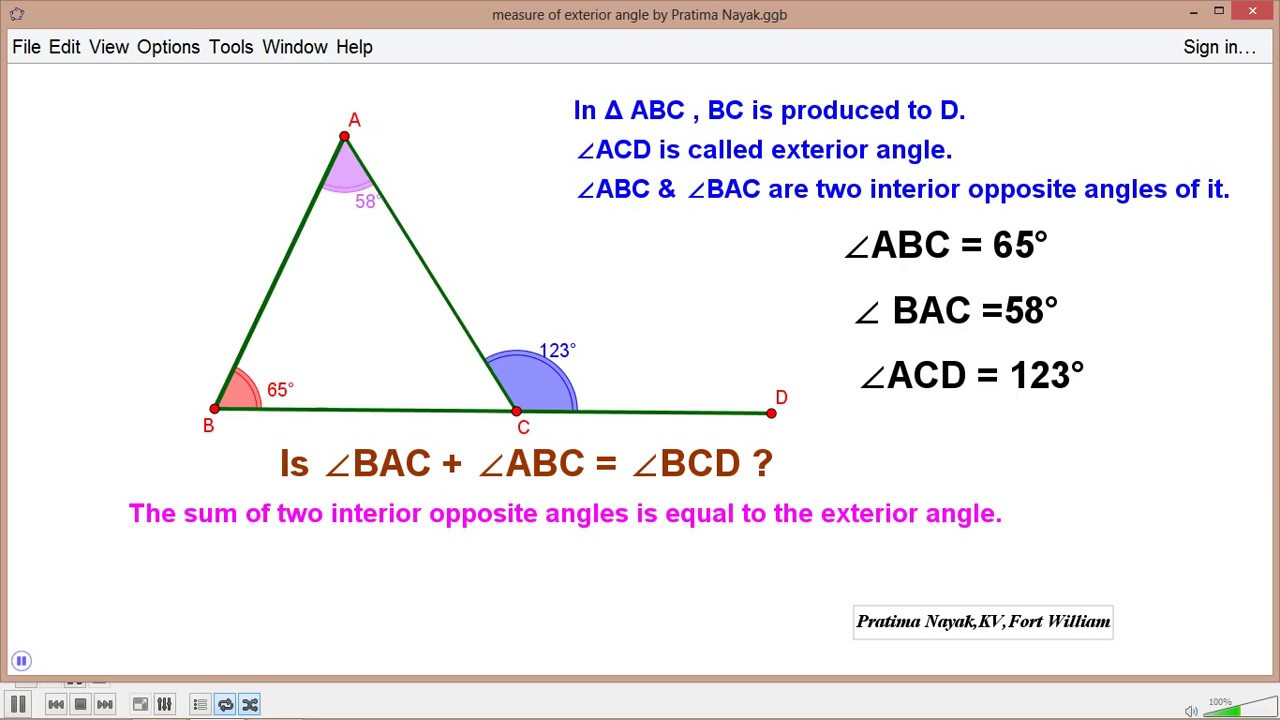 Sum of interior angles is equal to exterior angle youtube - Sum of the exterior angles of a triangle ...