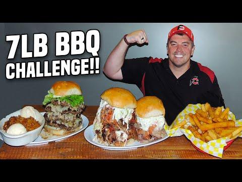 Big 7lb BBQ Challenge w/ Brisket, Burgers, & Memphis Pulled Pork!!
