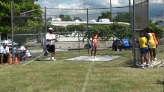 2009 AAU Regional Midget Shot Put Charlyncia Stennis 4th throw 18-10.5.mpg