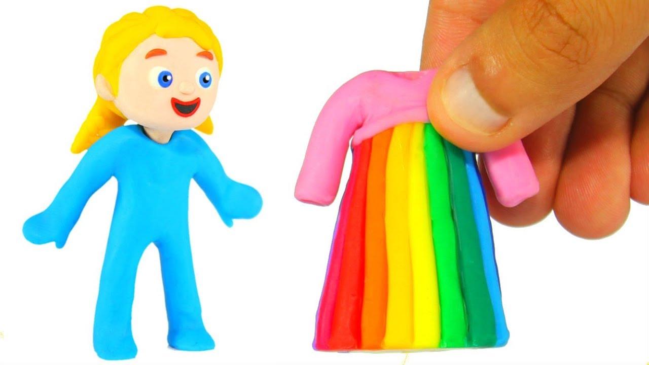 SUPERHERO GIRL NEW RAINBOW DRESS ❤ SUPERHERO BABIES PLAY DOH CARTOONS FOR KIDS