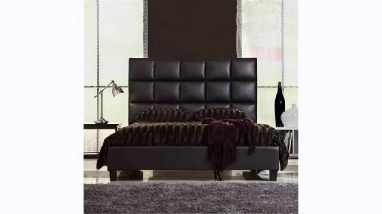 Bed headboard leather - King Size Bed Queen Size Modern Bed With Faux Leather Headboard Love This Bed Youtube