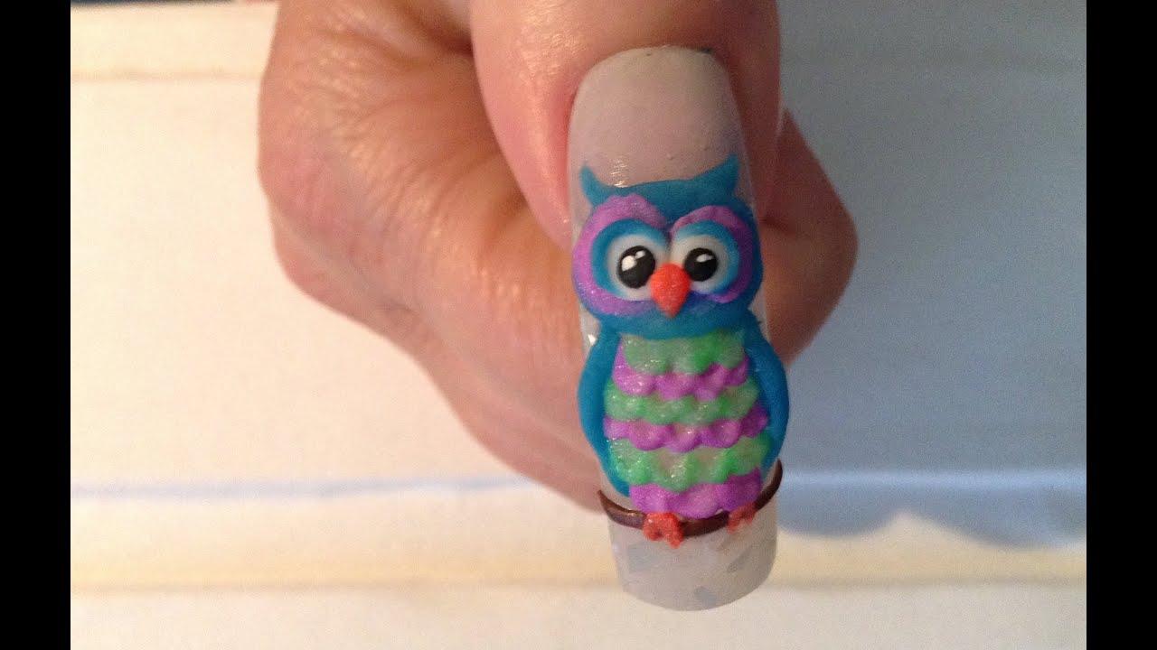 3D Acrylic Owl Nail Art Tutorial - YouTube