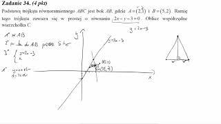 Podstawą trójkąta równoramiennego ABC jest bok AB, gdzie A=2,1 i B=5,2  Ramię tego trójkąta zawiera