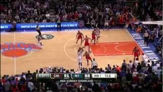 carmelo anthony makes two clutch three pointers against the bulls