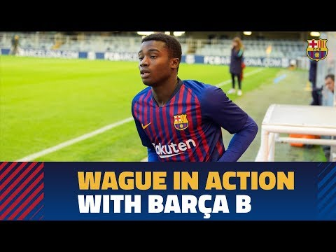 The Senegalese defender Moussa Wague in action with Barça B