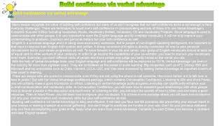 How to : Build confidence via verbal advantage